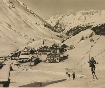 Erster Skilift in Obergurgl (um 1950)